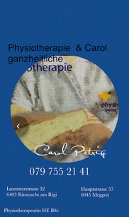 Phyisotherapie Carol in Küssnacht am Rigi, Massage in  Carol Küssnacht am Rigi, Massage Carol, Massage  Lymphdrainage,Carol Petrig Meggen, , EMR, ASCA,  Rund Herum Thereapie, Iris Trapp, Erni in Meggen, Fussreflexmassage, Physio Verband, Massage  Meggen,