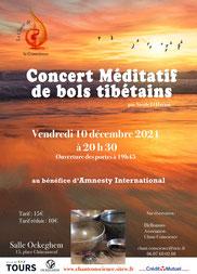 """Concert Méditatif de Bols Tibétains au bénéfice d'Amnesty International organisé par l'association """"Le Chant de la Conscience"""".  10 Décembre 2021  20h30  - annuaire du bien être via energetica"""