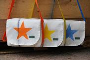 Recyclingtasche, Umhängetasche mit caramelfarbigem Gurtband, Sterntasche