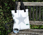 Recyclingtasche, Tasche mit Stern, schwarz, silber, Umhängetasche