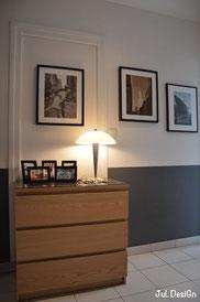 meuble entrée, cadres photo, photographies jul. design, mur gris et blanc, décoration chic et élégante
