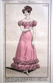 Garderobe für den Tag nach der Hochzeit, Costume Parisien, 1822. Foto von Nina Möller - Regency Empire Mode