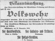 Göttinger Zeitung  20.11. 1918, Einrichtung einer Volkswehr. StA Göttingen