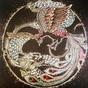 龍と鳳凰(朱雀)点描仏画