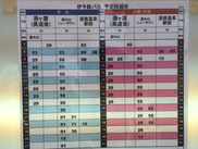 Time table for weekday(blue),    weekend & holiday(red)