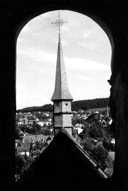 Blick aus dem Glockenturm der Esloher Pfarrkirche