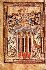 """Enluminure """"La Fontaine de Vie"""", évangéliaire de Charlemagne - VIII° S."""
