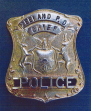 Zeeland Police Chief badge worn by Lawrence Veldheer