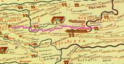 extrait de la carte de Peutinger voie romaine n°VI de Naix aux Forges (nasium) à Metz par Toul (tullum)