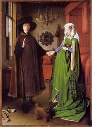 Die sog. Arnolfini-Hochzeit, Jan van Eyck, 1434 (flickr, Abb. von Benedikte Vanderweeen) Mode Mittelalter Kleid