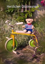 Geburtstagskarte, Glückwunschkarte, Teddy, Teddybär, Dreirad, Velo