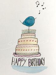 Individuelle Glückwunschkarte mit Illustration Piepmatz auf Torte von silvanillion