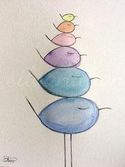 Ein Stapel bunte Piepmätze, Illustration von silvanillion