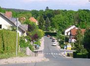 Blick von der Einmündung des Varellwegs über die Eremitagestraße zum Park.
