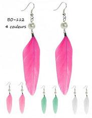 boucles d'oreilles pendantes plumes vertes, magenta, blanches et perles nacrées