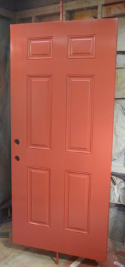 Fiberglass door painted red