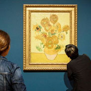 Painting of Van Gogh Sunflowers in museum