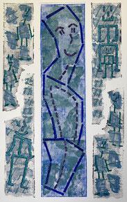 Gedankenfetzen: Materialdruck auf Papier, 70 x 50 cm, 2012