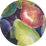 Inspiration - Birnen in Aquarell auf einer Collage malen - DIY
