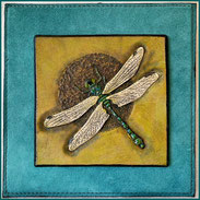 Punziertes Lederbild Libelle Grün, 10 x 10 cm