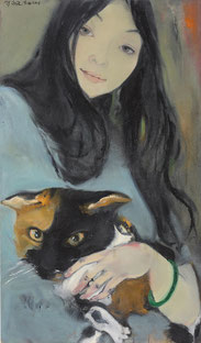 女孩和猫 MY GIRL 120X70CM 布面油画 OIL ON CANVAS 2006 (收藏于上海 COLLECTED IN SHANGHAI)