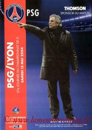 Programme  PSG-Lyon  2003-04