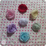 Stoffrosen - rosa, flieder, türkis, weiß, gelb, mint, rot
