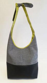sac seau gris noir motif intérieur anis
