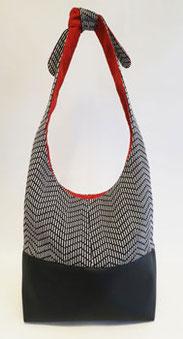 sac seau noir motif intérieur orange