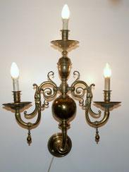 Große, alte Wandlampe, Messing, Barock, 3-Flammig, 82,0 cm , € 650,00