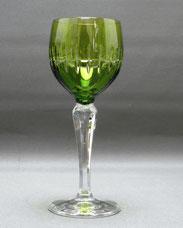 Kristallgals, Römer, olivgrüner Übrefang, geometrischer Schliff, 19,0 cm , € 28,50