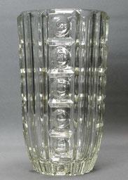 Details zu  Große schwere böhmische Art-Deco Vase,Formgeblasen, Klarglas,Prägestempel, 26 cm , € 95,00