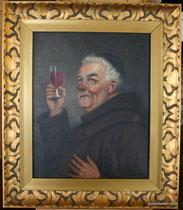 Georg Hoffmann, Portrait eines zuprostenden Mönches, Öl auf Leinwand, € 235,00