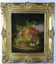 George E. Forster, 1814-1896, Stillleben, Früchte, Käfer, Vogelnest, Goldrahmen , € 10.500,00