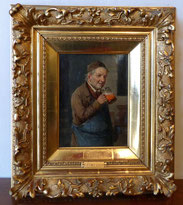 Constantin Stoitzner, Trinkender Mann, Öl auf Holz hinter Glas,orig. Stuckrahmen, € 900,00