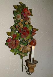 Biedermeier, Wandapplike, Metallblumen, Kerzenständer, Wandlampe, 62,0 cm, € 310,00
