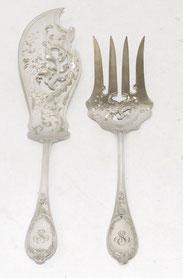 Fisch Vorlegebesteck, Jugendstil, 800er Silber, Halbmond Krone 241,0 g. ,,€ 380,00
