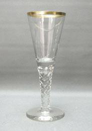 Val St. Lambert, Pokal Glas, Eingeschlossene Luftblasen, Goldrand, 28,2 cm, € 135,00