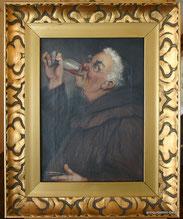Georg Hoffmann, Portrait eines trinkenden Mönches, Öl auf Leinwand, € 235,00