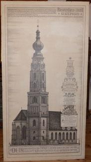 Hannes Rischert,Orig. Tuschezeichnung,St. Stephan Braunau,Bauchronik,152x81,5 cm, € 4600,00