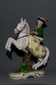 Aelteste Volkstedter Porzellanfigur, Reiterin auf Pferd, 16,5 cm , € 250,00