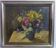 Großes Blumenstillleben, Spachteltechnik,P. Rostinsky, Sommerblumenstrauss , € 450,00