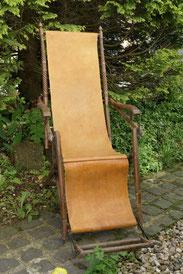 Historismus Liegestuhl, Deckchair, verstellbar, Lederbezug, gedrechselt , € 550,00
