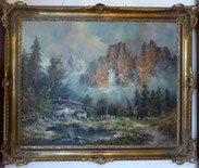 Heinrich Hartung,1888- 1966,Grandiose Gebirgslandschaft mit Bergsee und Almhütte , € 1150,00