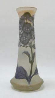 Emile Gallé, Nancy, Cameo Glas, Trompetenvase, Stiefmütterchen, 24,7 cm , € 915,00