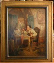 """Franz Wildt, Ölgemälde """" Künstler bei der Arbeit"""", Signiert, € 550,00"""