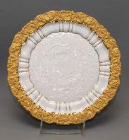 Meissen, Prunkteller, Rocaillenrelief, Matt- und Glanzgold, 1. Wahl Ø 27,0 cm , € 380,00