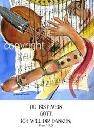 Musik Geige, Flöte, Harfe