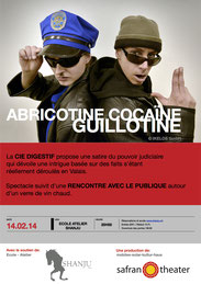 "Kleine Reportage zu ""Abricotine, Cocaïne, Guillotine"" im Kultursender ""Marmelade"" Canal 9:   http://www.canal9.ch/television-valaisanne/emissions/marmelade.html#"