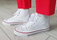 Sneaker weiß Glitzersteine silber